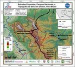 Mapa de Estradas Propostas, Parques Nacionales, e Topografia da Serra do Divisor, Perú-Brasil
