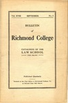 Bulletin of Richmond College: Catalog of the Law School For 1916-1917