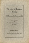 University of Richmond Bulletin: Catalogue of The T.C. Williams School of Law for 1921-1922