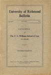 University of Richmond Bulletin: Catalogue of the T.C. Williams School of Law for 1924-1925