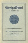 University of Richmond Bulletin: The T.C. Williams School of Law Catalogue Number for 1955