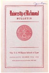 University of Richmond Bulletin: Catalog of the T.C. Williams School of Law for 1966-1967