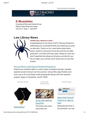 Museletter   Muse Law Library History & Publications   University of